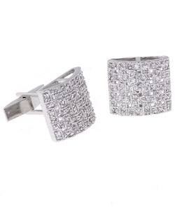 Icz Stonez Rhodium-plated Sterling Silver Woven CZ Cuff Links