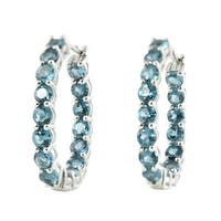 Platinum-plated Sterling Silver London Blue Topaz Inside-out Oval Hoop Earrings
