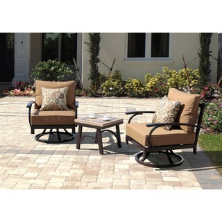 Corvus Ashton 3 Piece Espresso Patio Swivel Chair Set With Sunbrella  Cushions   Free Shipping Today   Overstock.com   16084256