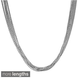 Fremada Rhodium Plated Sterling Silver 10-strand Diamond-cut Cordina Link Necklace (17 or 20 inch)