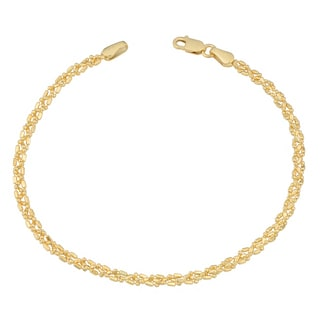 Fremada 10 Karat Yellow Gold 2.75-mm Braided Alternate Ball and Bar Bracelet (7.5 inch)