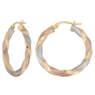 Fremada 10k Tricolor Gold Twisted Hoop Earrings