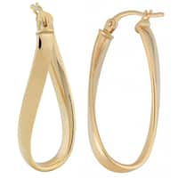 Fremada 10k Yellow Gold Polished Twisted Oval Hoop Earrings