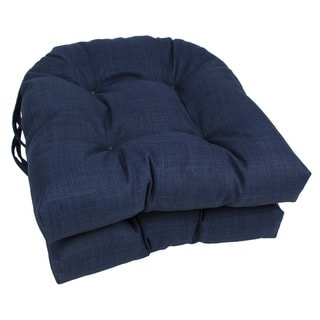 Blazing Needles 16x16-inch Solid U-Shaped Outdoor Spun Polyester Chair Cushions (Set of 2)