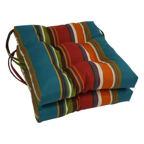 "Blazing Needles 16-inch Indoor/Outdoor Chair Cushion (Set of 2) - 16"" x 16"""