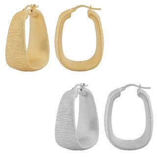 Fremada 18k Gold over Sterling Silver Textured Electroform Hoop Earrings
