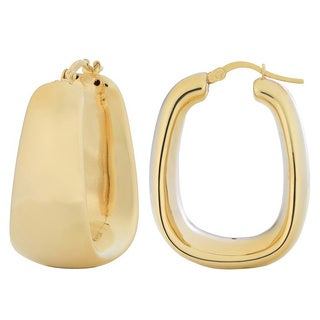 Fremada 18k Gold over Silver Electroform Rectangular Hoop Earrings