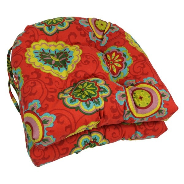 Blazing Needles Spun Polyester 16- x 16-inch U-Shaped Outdoor Chair Cushions (Set of 2)