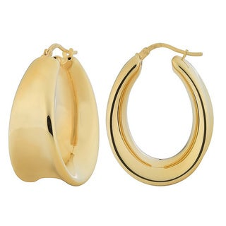 Fremada 18k Gold over Sterling Silver Concave Electroform Oval Hoop Earrings