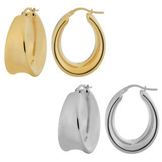 Fremada 18k Gold over Silver Polished Electroform Oval Hoop Earrings