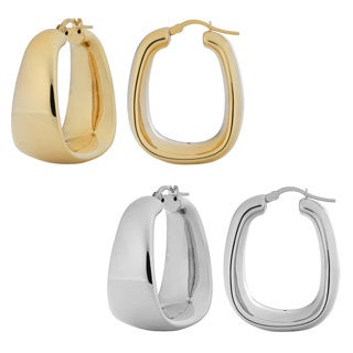 Fremada Goldplated Silver Polished Electroform Rectangular Hoop Earrings (2 options available)