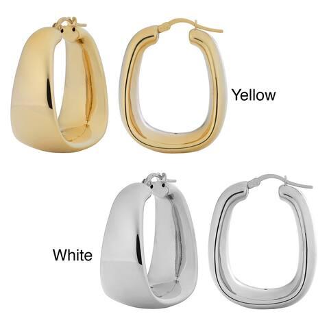 Fremada 18k Goldplated Silver Polished Electroform Rectangular Hoop Earrings