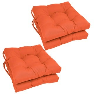 Blazing Needles 16x16-inch Solid Squared Outdoor Spun Polyester Chair Cushions (Set of 4)