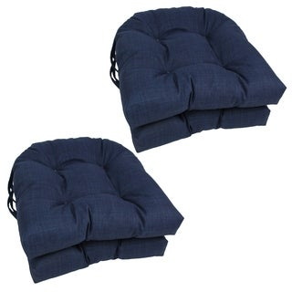Blazing Needles 16x16-inch Solid U-Shaped Outdoor Spun Polyester Chair Cushions (Set of 4)