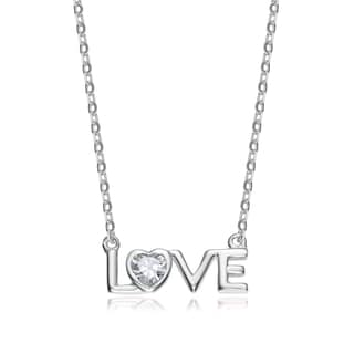 Collette Z Sterling Silver White Cubic Zirconia 'LOVE' Necklace