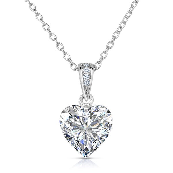 cz gem sterling silver with pendant shaped kcfq necklace heart white pendants