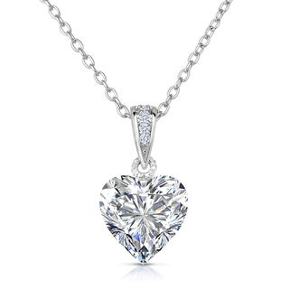 Collette Z Sterling Silver White Cubic Zirconia Heart-shape Necklace
