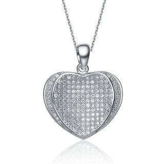 Collette Z Sterling Silver White Cubic Zirconia Heart-shape Pave-set Necklace