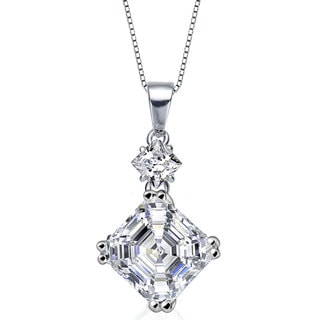 Collette Z Sterling Silver White Cubic Zirconia Square Asscher-cut Necklace