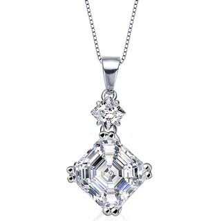 Collette Z Sterling Silver White Cubic Zirconia Square Asscher-cut Necklace