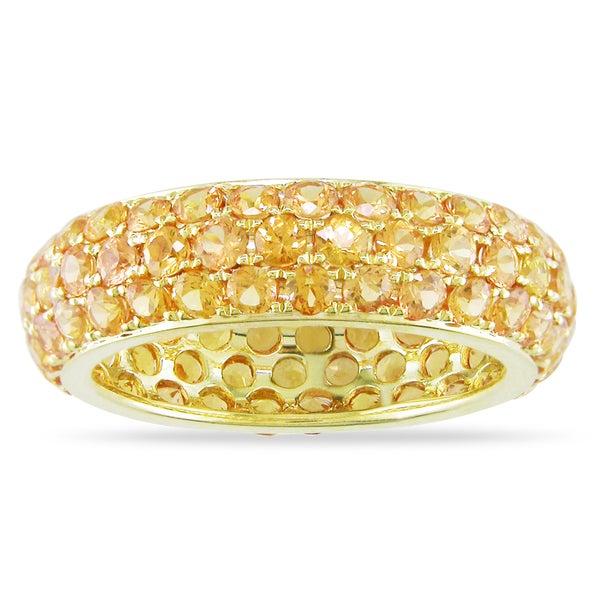 Miadora Signature Collection 14k Yellow Gold 4 1/3ct TGW Orange Sapphire Ring