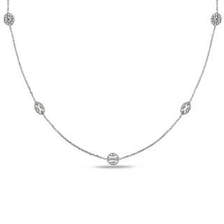 Miadora 14k White Gold 1/6ct TDW Diamond By-the-Yard Necklace (G-H, SI1-SI2)