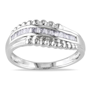 Miadora 14k White Gold 1/6ct TDW Baguette Diamond Curved Ring (G-H, I1-I2)