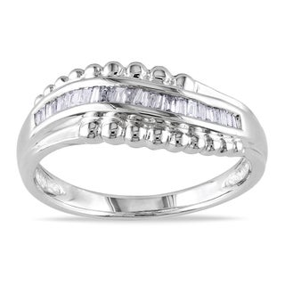 Miadora 14k White Gold 1/6ct TDW Baguette Diamond Curved Ring