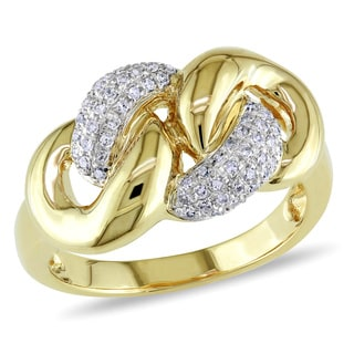 Miadora 14k Yellow Gold 1/5ct TDW Diamond Chain Link Ring