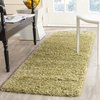 Safavieh California Cozy Solid Green Shag Rug (2'3 x 7')