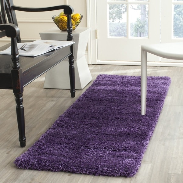 Charming Safavieh Milan Shag Purple Runner Rug (2u0026#x27; ...