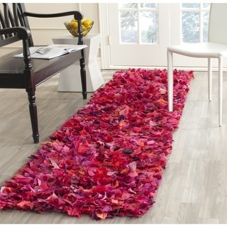 Safavieh Hand-woven Shag Fuchsia Polyester Rug (2'3 x 11')