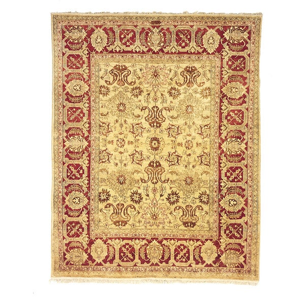 Safavieh Hand-knotted Peshawar Vegetable Dye Ivory/ Red Wool Rug - 9' x 12'