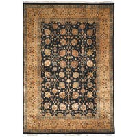 Safavieh Hand-knotted Ganges River Black/ Gold Wool Rug - 5' x 7'