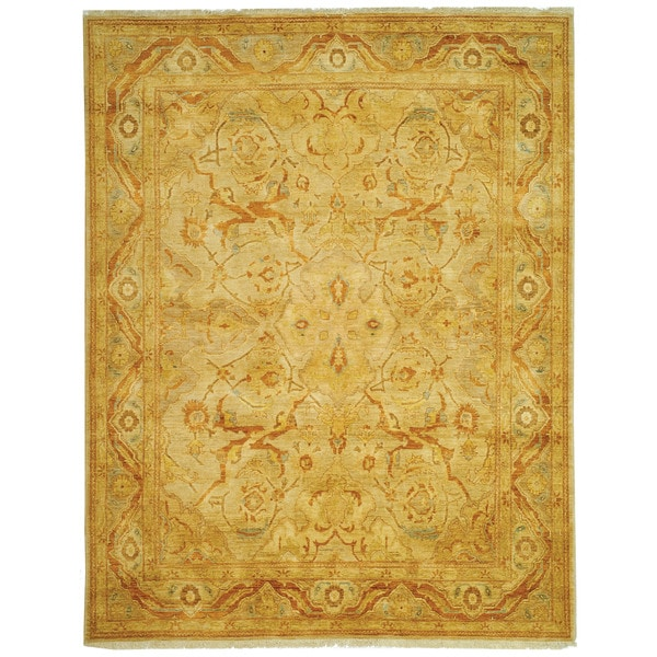 Safavieh Hand-knotted Peshawar Vegetable Dye Light Gold/ Dark Gold Wool Rug - 9' x 12'