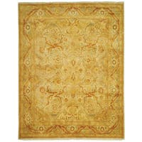Safavieh Hand-knotted Peshawar Vegetable Dye Light Gold/ Dark Gold Wool Rug - 9' x 12'