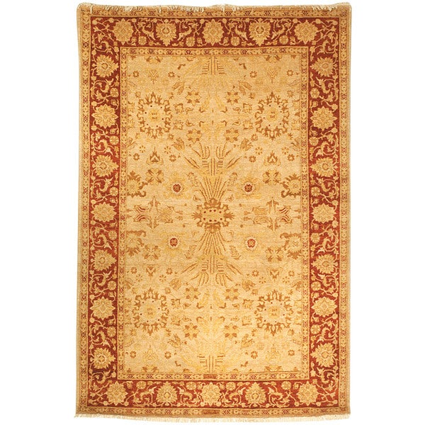 Safavieh Hand-knotted Peshawar Vegetable Dye Gold/ Red Wool Rug - 9' x 12'