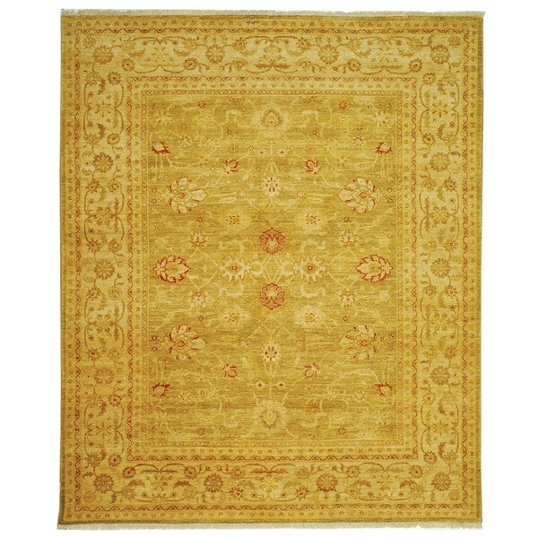 Safavieh Hand-knotted Peshawar Vegetable Dye Olive/ Lemon Wool Rug - 9' x 12'