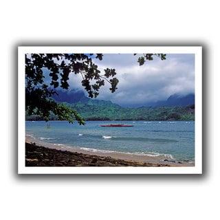 ArtWall Kathy Yates 'Red Canoe on Hanalei Bay' Unwrapped Canvas