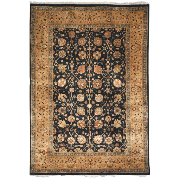 Safavieh Hand-knotted Ganges River Black/ Gold Wool Rug - 8' x 10'