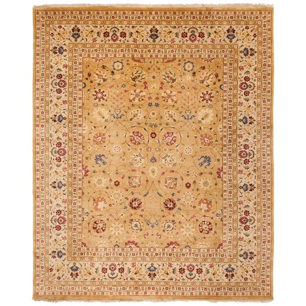 Safavieh Hand-knotted Ganges River Gold/ Ivory Wool Rug - 8' x 10'