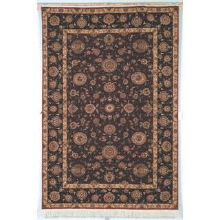 Safavieh Hand-knotted Tabriz Floral Burgundy/ Brown Wool/ Silk Rug (10' x 14')