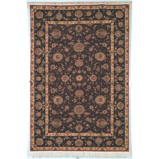 Safavieh Hand-knotted Tabriz Floral Burgundy/ Brown Wool/ Silk Rug - 10' x 14'