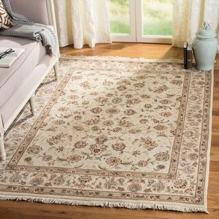 Safavieh Hand-knotted Tabriz Floral Ivory/ Ivory Wool/ Silk Rug - 5' x 7'