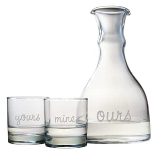 Yours, Mine and Ours 3-piece Carafe and Glass Set