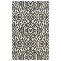 Hand-tufted Runway Charcoal/ Ivory Damask Wool Rug - 5' x 7'9