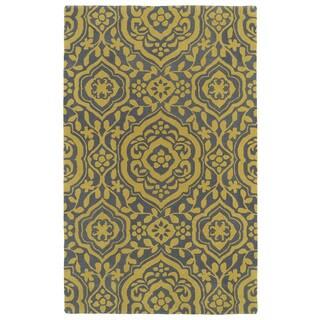 """Hand-tufted Runway Grey/ Yellow Damask Wool Rug (5' x 7'9) - 5' x 7'9"""""""
