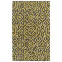 Hand-tufted Runway Grey/ Yellow Damask Wool Rug - 5' x 7'9