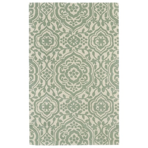 """Hand-tufted Runway Mint/ Ivory Damask Wool Rug - 5' x 7'9"""""""