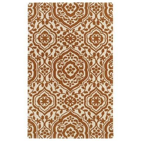 "Hand-tufted Runway Pumpkin/ Ivory Damask Wool Rug - 5' x 7'9"""